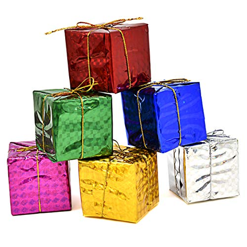 Gift Boutique Christmas Gift Box Present Ornaments 36 Pcs Mini Wrapped Boxes Miniature Foil Ornaments Decoration Boxes Assorted Colors Miniature 2 Inches (Gift Ornaments Box)