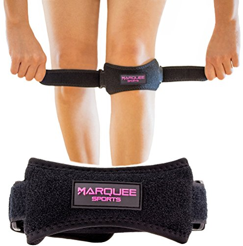 Marquee Sports Patella Knee Strap for Running, Basketball, and Hiking by Adjustable Patellar Tendon Pain Relief and Support Brace from Jumper's Knee, Chondromalacia, and ()