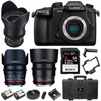 Panasonic Lumix GH5 4K Mirrorless Camera (Body) + 3-Lens Cine Kit & 64GB UHSII + Cage Bundle