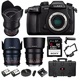 Panasonic Lumix GH5 4K Mirrorless Camera (Body) + 3-Lens Cine Kit & 64GB UHSII + Cage Bundle
