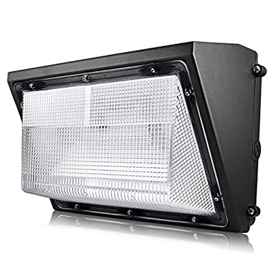 Luxrite 80W LED Wall Pack Light Fixture, 9450 Lumens, 400W HID/HPS Equivalent, 5000K Bright White, DOB, 120-277V, Dimmable, Commercial and Residential Outdoor Lighting, IP65 Waterproof Rated