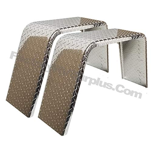 ToughGrade 2-Pack Aluminum Diamond Plate Flat Top Trailer Fender 10'' X 36'' X 18'' by ToughGrade