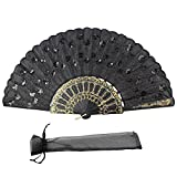 large black feather hand fan - Newstarfactory Peacock Feather Black Sequins Design Plastic Folding Hand Fan with Exclusive Gift