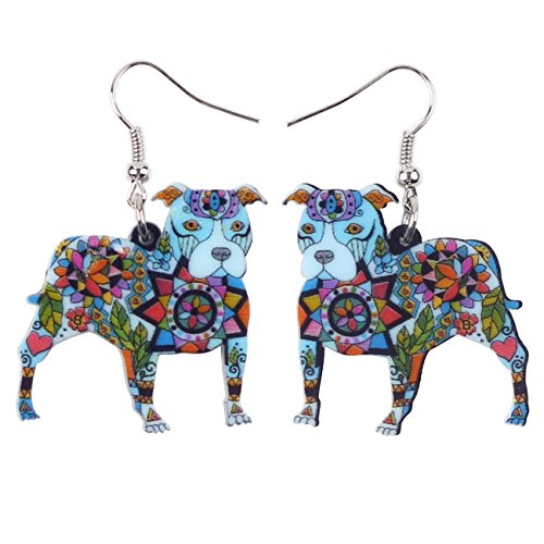 "• BONSNY Dog Collection ""BUSTER"" PIT BULL Dog Statement Acrylic Pop-Art Long Drop Dangle Women Earrings (Blue)"