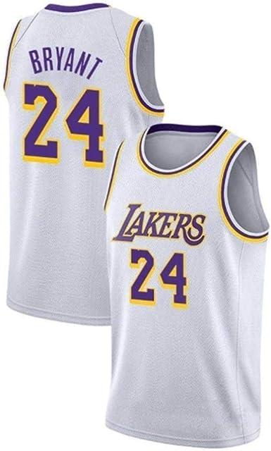 Uniforme Jersey Kobe Bryant de Los /Ángeles Lakers No.24 Verano Camisetas de Baloncesto Masculino Bordado # 24 Kobe Bryant Fans Baloncesto Ropa Bordado Artesan/ía Tejido