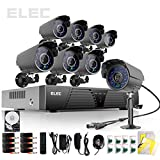 Elec® New 8ch Channel H.264 HDMI Full D1 DVR CCTV Recorder Home Video Surveillance Security Camera Systems 8 Outdoor IR Outdoor Bullet Cameras (Black) with 750GB Hard Drive