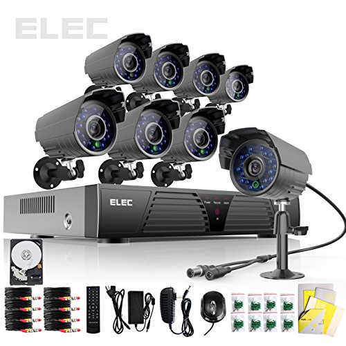Elec® New 8ch Channel H.264 HDMI Full D1 DVR CCTV Recorder Home Video Surveillance Security Camera Systems 8 Outdoor IR Outdoor Bullet Cameras (Black) with 750GB Hard Drive, Best Gadgets