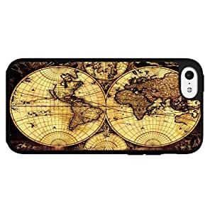 Tan and Black Vintage Map Hard Snap on Phone Case (iPhone 5c)