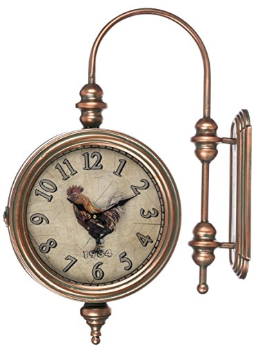 Rooster Old Fashioned 25.5 x 21 Inch Metal Wall Mounted Station Clock by Sullivans