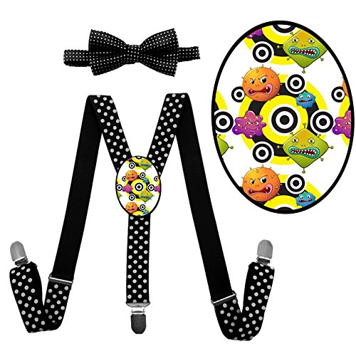Squishy Squibbles Costume (LSL Monster Suspender+Bow Tie/Unisex Suspender/Adjustable Suspender/Y-Back Suspender(Black))