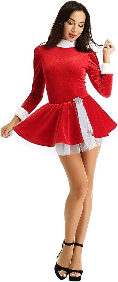 inlzdz Vestido de Navidad para Mujer Terciopelo Vestido de Danza ...