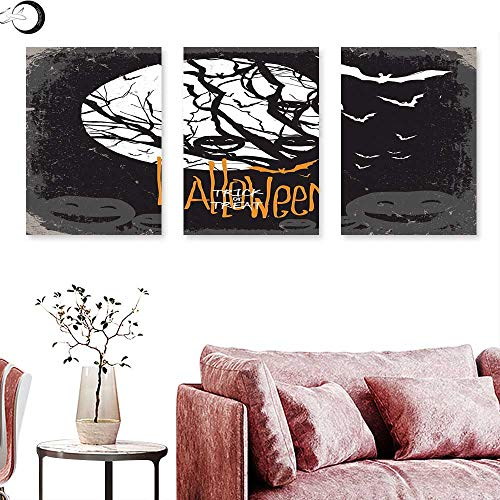 J Chief Sky Vintage Halloween Canvas Prints Wall Art Halloween Themed Image with Full Moon and Jack o Lanterns on a Tree Wall Panel Art Black White Triptych Art Canvas W 16
