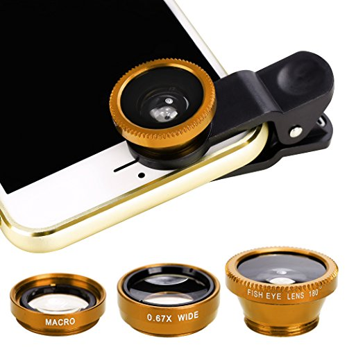 Xinnio Universal 3 in 1 Camera Lens 0.67X Wide Angle Lens+ 180° Fisheye Lens Macro Camera Lens Kit Clip On for iPhone XR/XS/ XS MAX/X/ 8 7 6 Plus, Samsung Smartphones Yellow from Xinnio