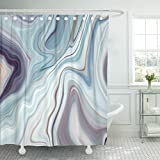 Gray and White Shower Curtain Emvency Shower Curtain Black Granite Marble White Gray Pattern Abstract Blue Ink Liquid Waterproof Polyester Fabric 72 x 72 inches Set with Hooks