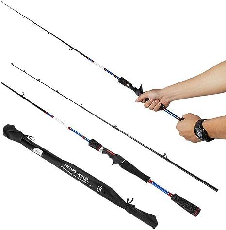 AYNEFY Portable Angelrute,Ultraleicht Angelrute Outdoor Tragbare Fish Rod Leichte Carbon Star Zylinderschaft Angelrute Angelzubeh/ör
