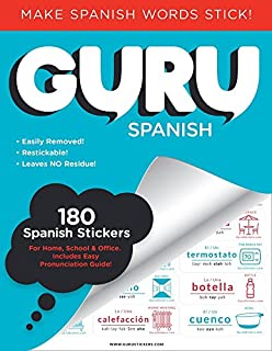 Guru Stickers Spanish Flash Cards | Learn Spanish for Kids and Adults | 180 Spanish Vocabulary