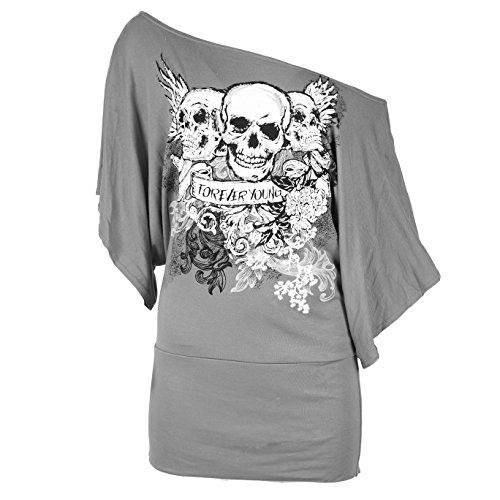 Be Jealous - T-Shirt Sur paule Imprim Tte de Mort Manches Longues Chauve-Souris pour Femme Grau - Grau