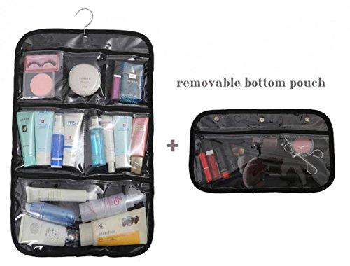 WODISON impermeabile Hanging cosmetici borsa da toilette con il gancio e removibile il sacchetto per la corsa e Business (Nero)