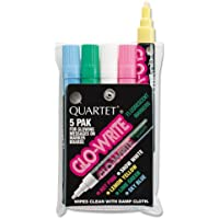 Quartet® Glo-Write Fluorescent Markers, Five Assorted Colors, 5/Set