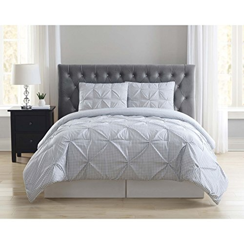Truly Soft 3 Piece Everyday Printed Gingham Pinch Pleat Comforter Set, King by Truly Soft Everyday