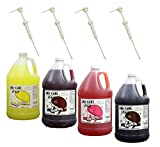 Pina Colada, Tigers Blood, Cotton Candy & Cola Snow Cone & Shave Ice Syrup-4/1 Gallons W/pumps