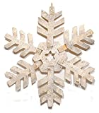 "11.5"" Wood Birch Bark Snowflake Ornament"