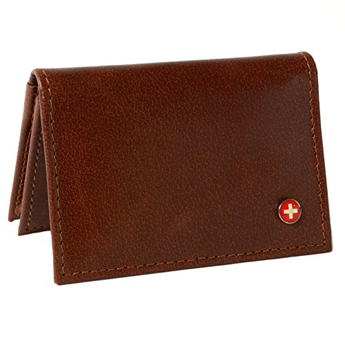 Alpine Swiss Genuine Leather Thin Business Card Case Minimalist Wallet Brown (Leather Credit Card Case)
