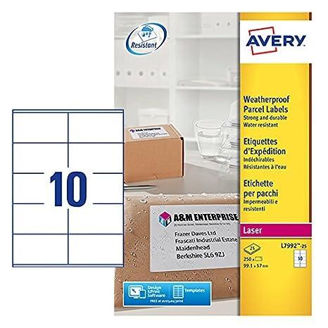 Amazon com : Avery L7992-25 250 Self-Adhesive Weatherproof