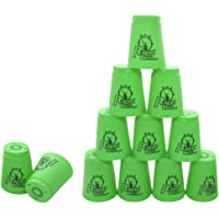 12 Pack Sports Stacking Cups, Quick Stack Cups Set Speed Training Game for Travel Party Challenge Competition, Green