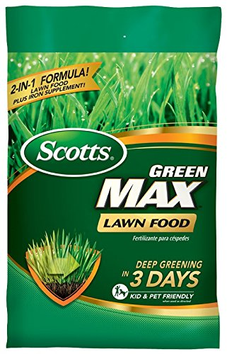 Scotts Green Max Lawn Food - Lawn Fertilizer Plus Iron Supplement Builds Thick, Green Lawns - Deep Greening in 3 Days - Covers 10,000 sq. ft. (Best Lawn Fertilizer For Summer)