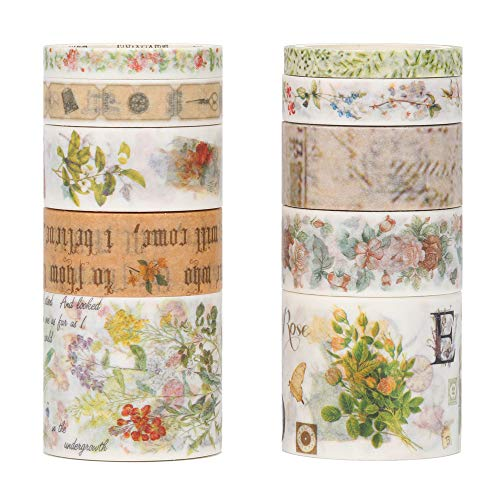 Molshine Floral Washi Masking Tape Set of 10, Spring Flower Decorative Sticky Paper Tapes for DIY Craft, Gift Wrapping, Bullet Journal, Planner, Scrapbooking (F)