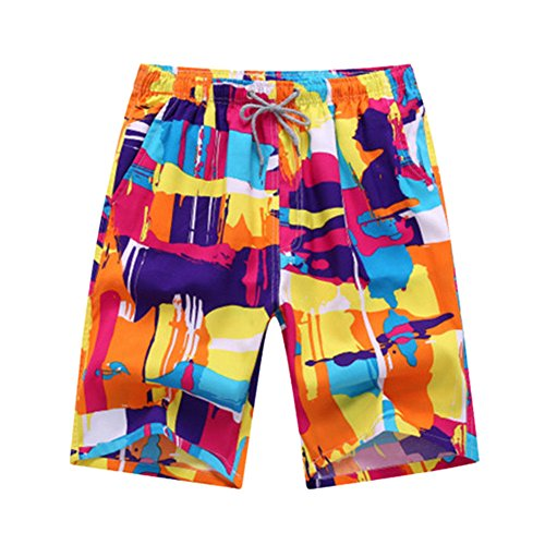 (Janjunsi Men Swim Trunks Quick Dry Floral Plaid Print Board Shorts Swimsuit)