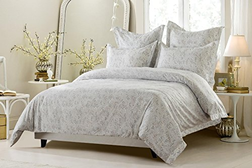 6pc Pink Grey White Floral Vine Bedding Set Includes