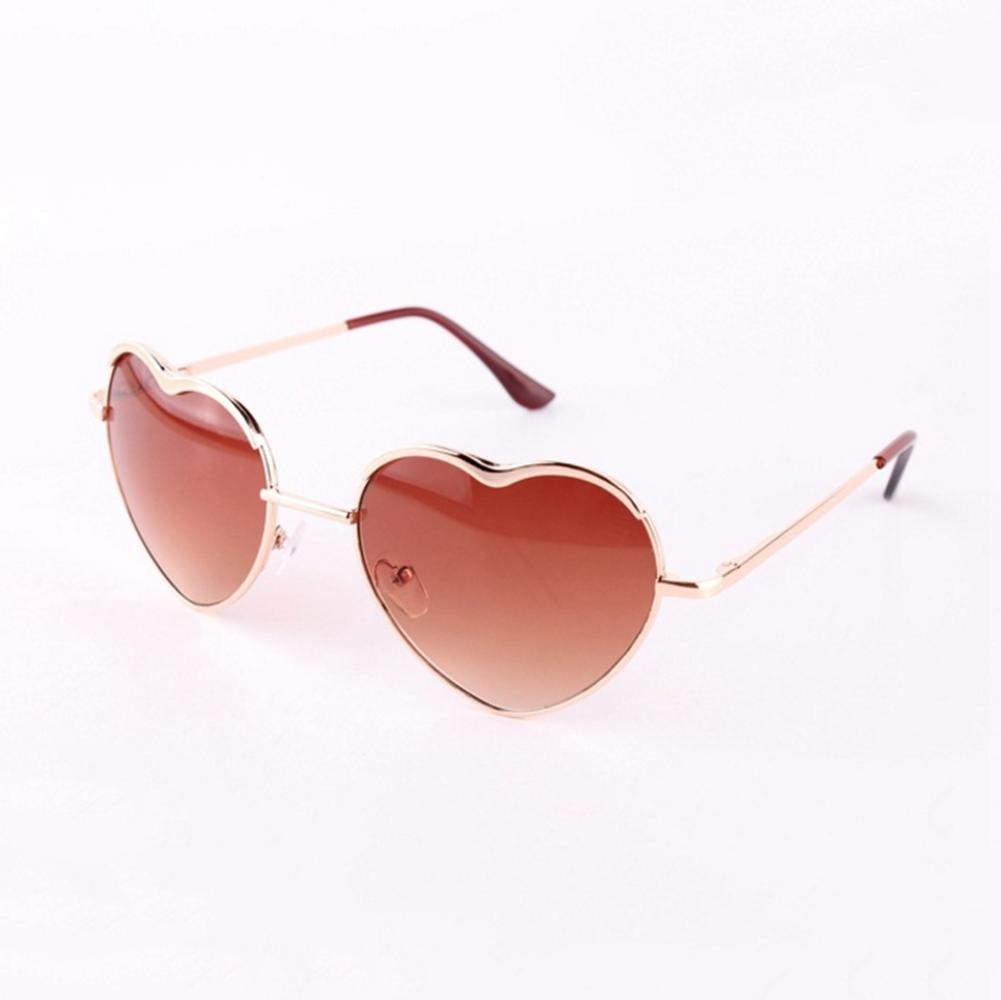 Z/&YQ Occhiali da sole donne Metal Heart Frame specchio Lens Cupido Heartshape b