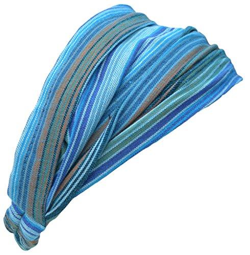 (Little Kathmandu Cotton Elastic Hippie Bohemian Bandana Headband Striped Turquoise )