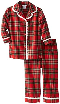 Hartstrings Little Girls'  Flannel Plaid Long Sleeve and Pant Pajama Set, Red Plaid, 2T