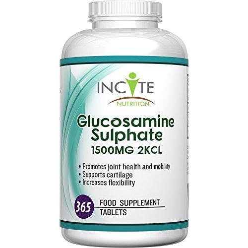 Glucosamin Sulfat 2KCL hochwirksame 1500 MG Ergänzung GELD-ZURÜCK-GARANTIE 365 Tabletten (1 Jahresvorrat) - Chondroitin - Kein Gel, Kapseln, Flüssig oder Pulver - Vorteile sind Unterstützung der Gelenke, Pflege der Gelenke & verbessert Arthritis - Hergestellt im vereinigten Königreich