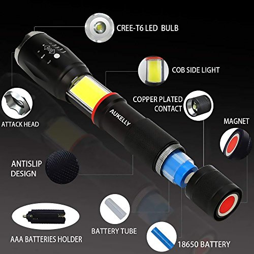 Tactical LED Flashlight with COB Light,High Lumens LED Tactical Flashlight,Waterproof LED Work Light,Handheld,Zoomable,Magnetic Bright Flashlight,6 Modes,Ideal for Camping,Emergency,with 18650 Battery by AUKELLY (Image #2)