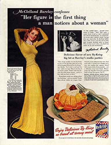 Mcclelland Frog - Her figure is the 1st thing men notice Ry-Krisp ad 1941 McClelland Barclay art