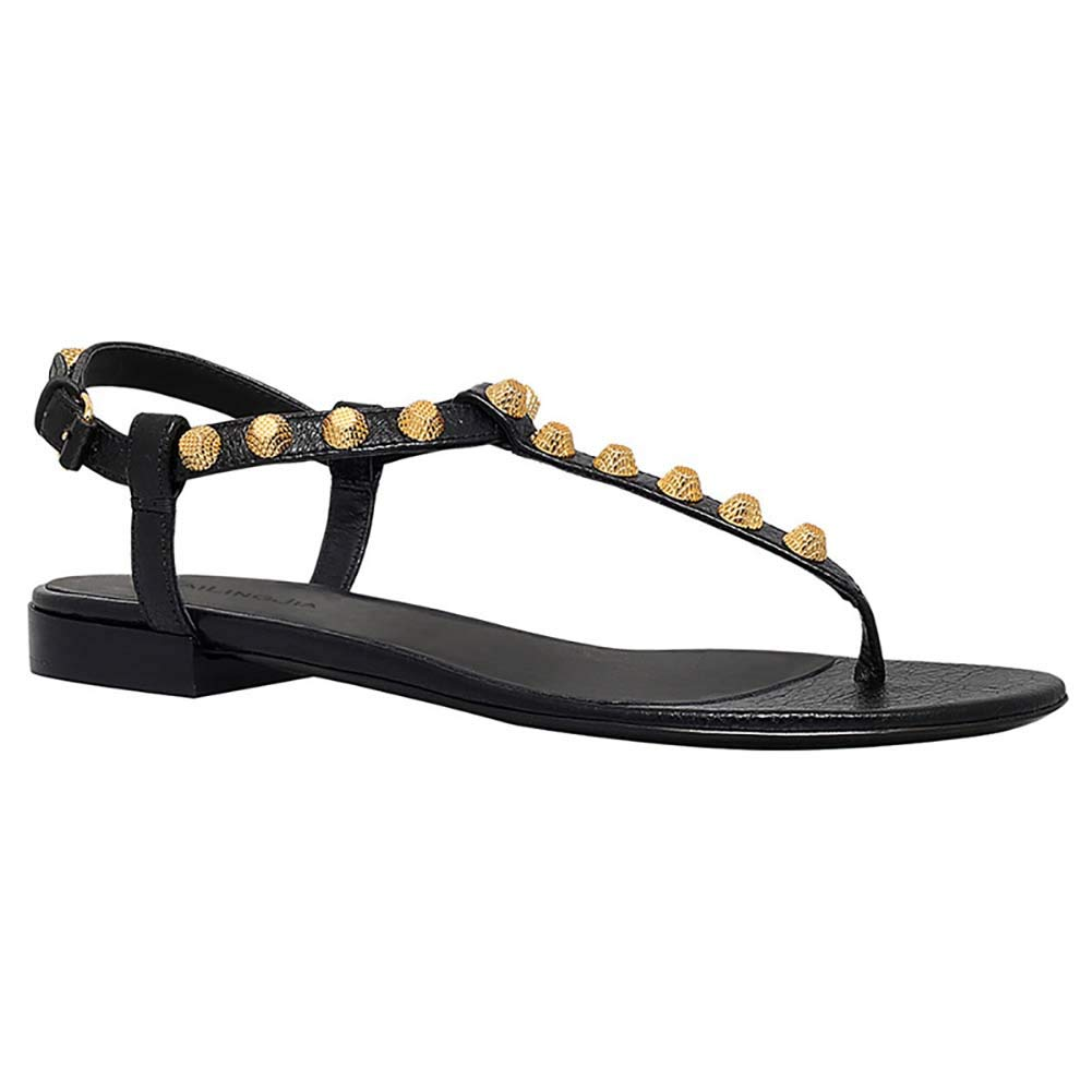 Black Women's Leather Studded Rivets Sandals T-Strap Flats Sandals, Clip Toe with Buckle Strap Summer Dress shoes