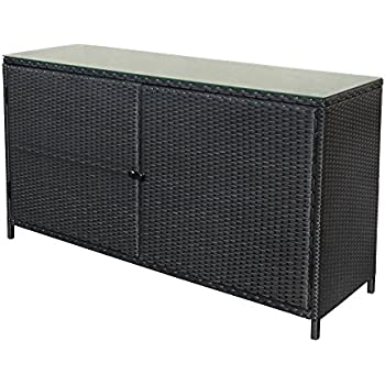 Amazon Com Wicker Rattan Buffet Serving Cabinet Table
