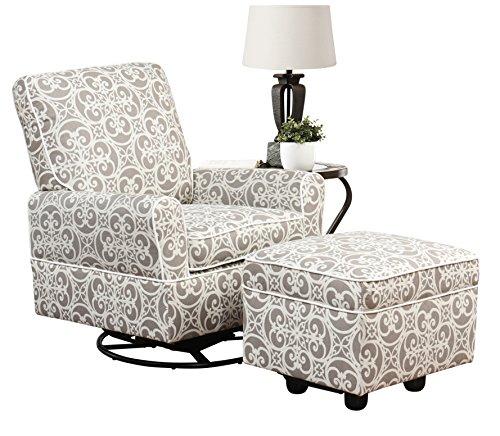 Abbyson Axton SK-1915-Ash Swivel Glider Chair and Gliding Ottoman Ash Leather Sofa