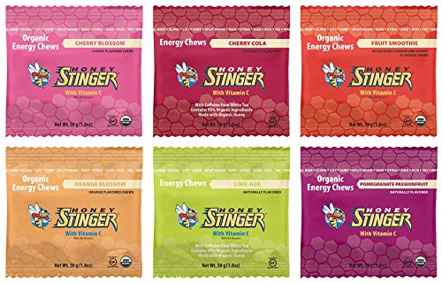 Honey Stinger Organic Energy Chews Variety Pack Bundle - 12 Packages, 2 of Each Featured Flavor in HFXGINGER Gift Box
