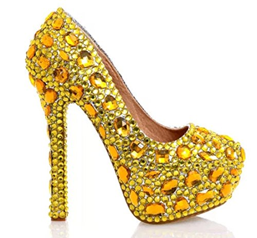 Gorgeous Party Dress Women's Rhinestones Stiletto Pumps Gold 14cm Wedding Heel TDA q6I5Z