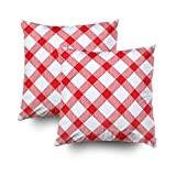 EMMTEEY Home Decor Throw Pillowcase for Sofa Cushion Cover,red Gingham Checker Checked Checkered Decorative Square Accent Zippered and Double Sided Printing Pillow Case Covers 16X16Inch,Set of 2