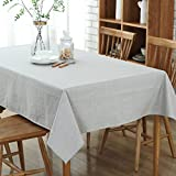 Bettery Simple Style Cotton Linen Pure Color Rectangular Tablecloth for Dining Room Kitchen 47 x 63 inches Gray