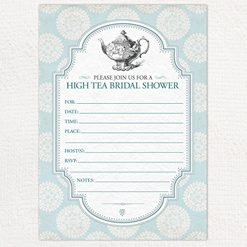 blue victorian rosette tea party bridal shower invitation 10 fill in blank 5x7 invites