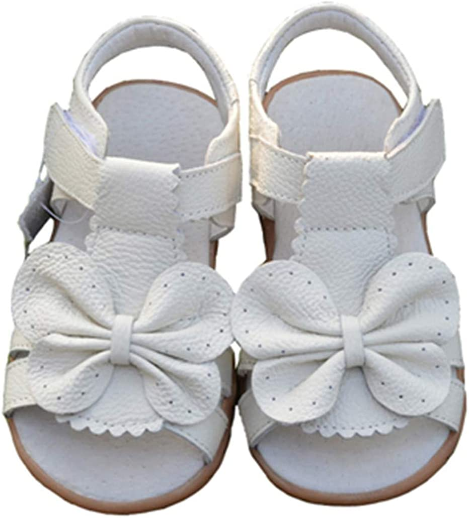 Summer Children For Girls Genuine Leather Bowtie Princess Kids Beach Sandals Baby Toddler Shoes White White 7.5