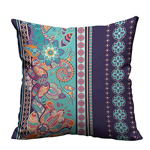 (YouXianHome Throw Pillow Cover for Sofa Striped Seamless Ethnic Pattern Paisley Ornamental Wallpaper Textile Crafts (Double-Sided Printing) 26x26 inch)