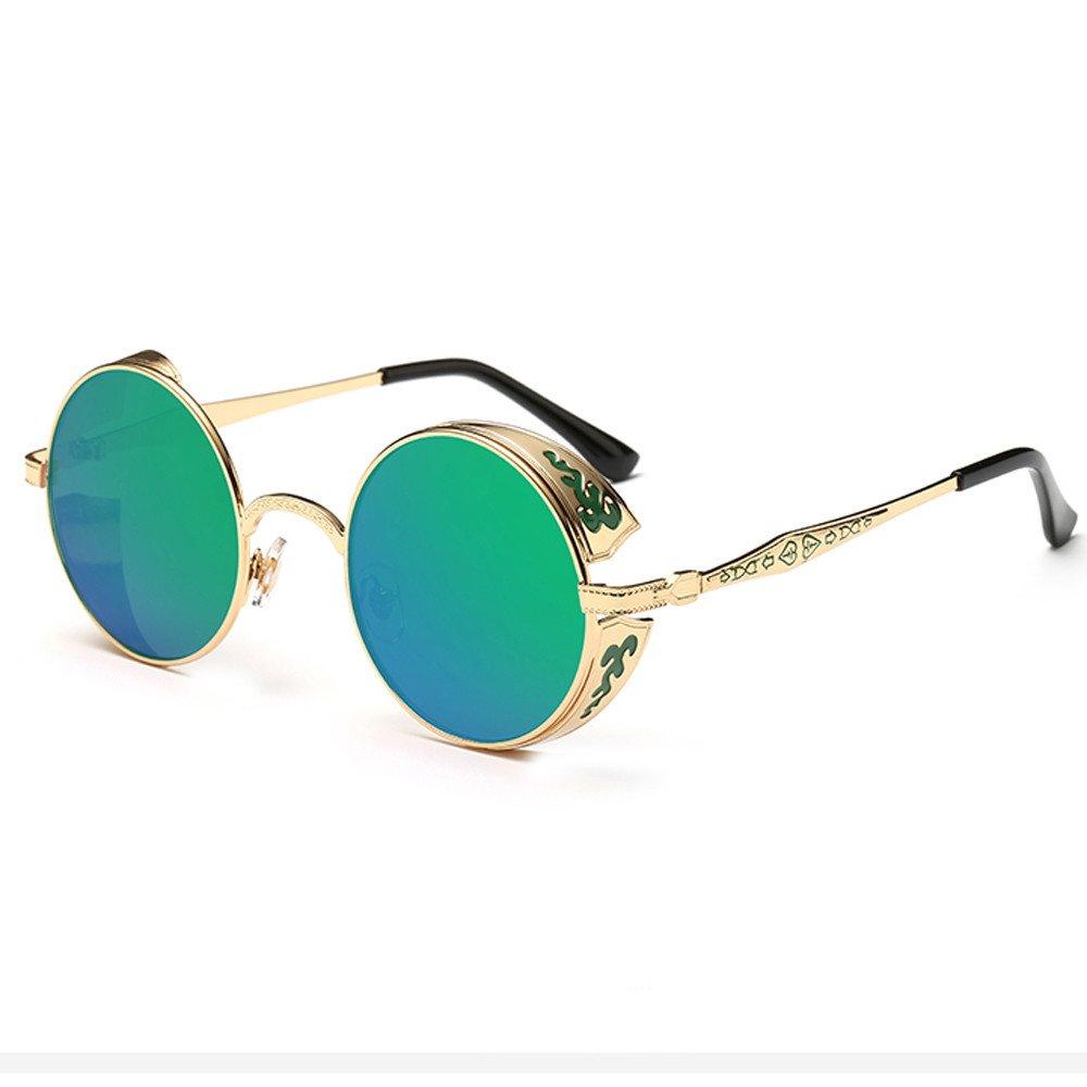 Occhiali Da Sole Unisex BANAA Occhiali Da Vista Donna Uomo Vintage Sunglasses Moda Premium Steampunk Bicchieri Estive Eyewear Rotondi Metallo Aviator Large Metal Retr/ò Polarizzati Occhiali Da Sole